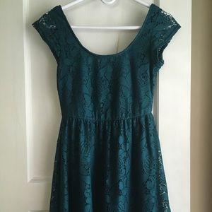 Cotton On teal eyelet dress (XS)